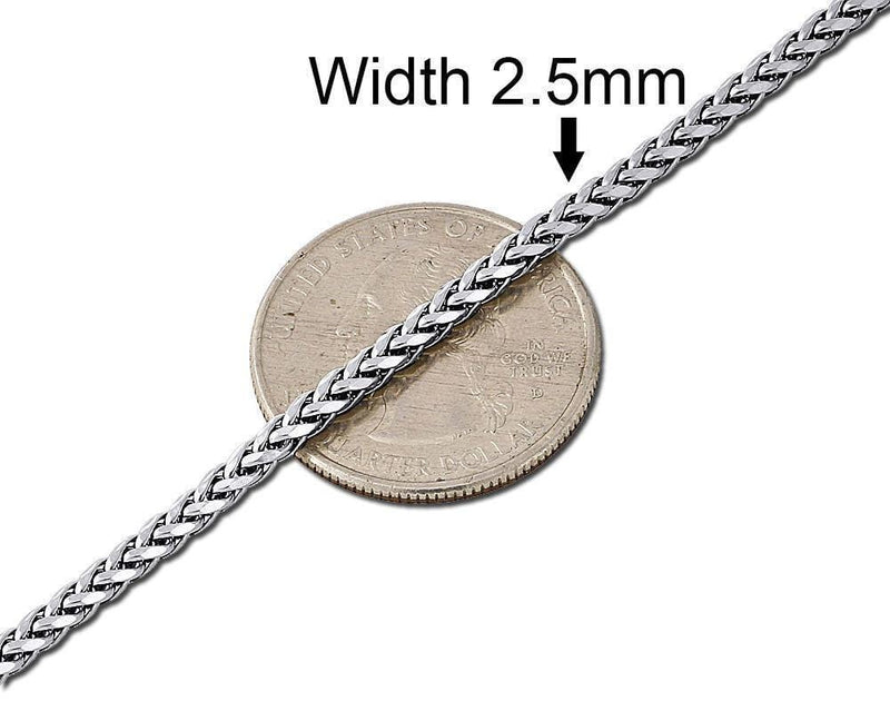 2.5mm White Gold Palm Chain
