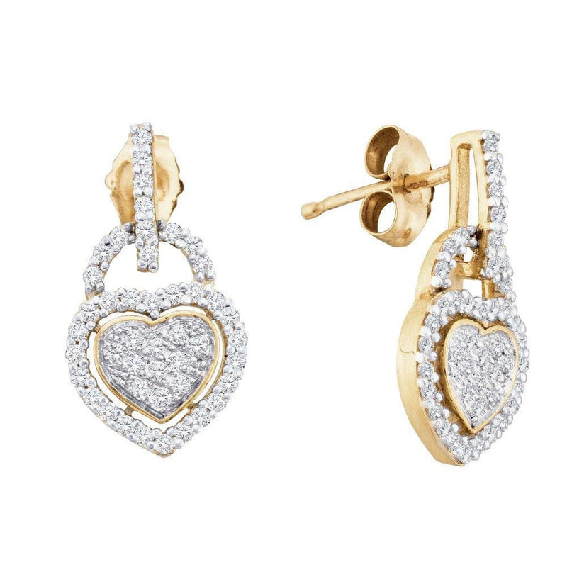 10kt Yellow Gold Womens Round Diamond Heart Dangle Earrings 1/3 Cttw