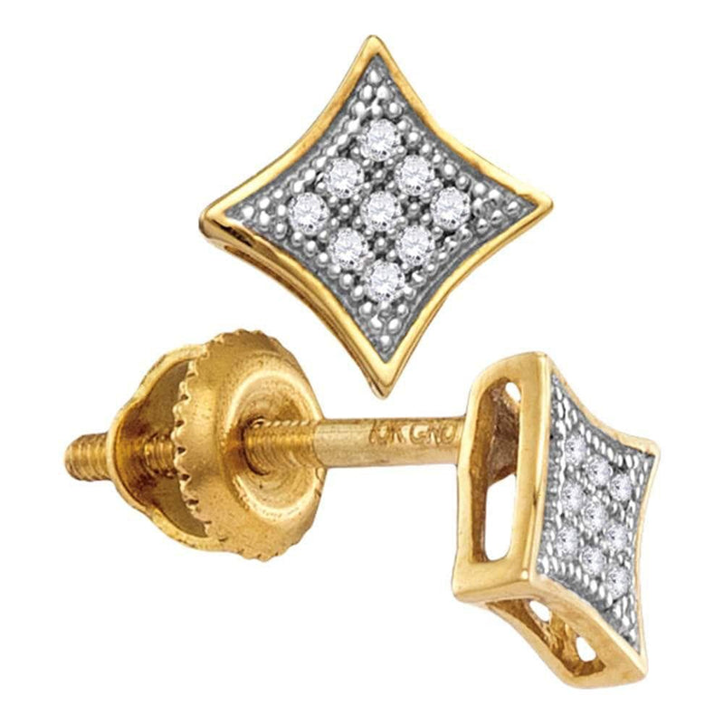 10kt Yellow Gold Womens Round Diamond Square Kite Cluster Screwback Earrings 1/20 Cttw