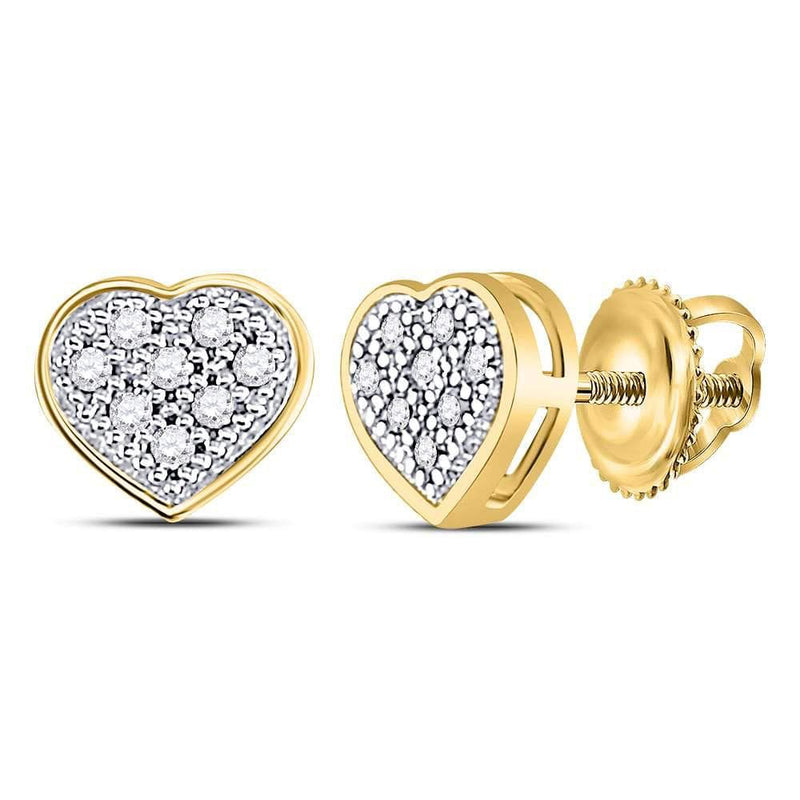 10kt Yellow Gold Womens Round Diamond Heart Cluster Screwback Earrings 1/20 Cttw