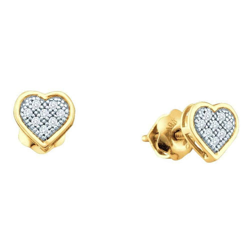 10kt Yellow Gold Womens Round Diamond Dainty Heart Cluster Screwback Earrings 1/20 Cttw