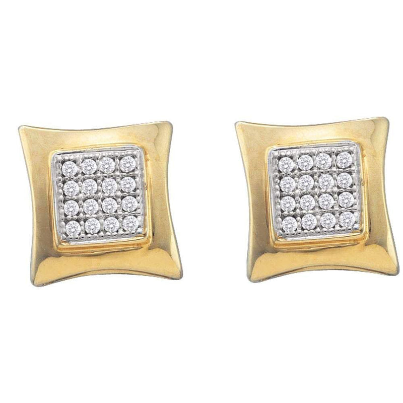 10kt Yellow Gold Womens Round Diamond Square Kite Cluster Screwback Earrings 1/10 Cttw