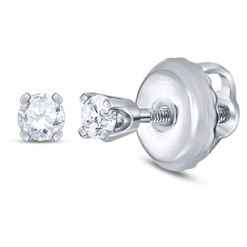 14kt White Gold Girls Infant Round Diamond Solitaire Stud Earrings 1/12 Cttw