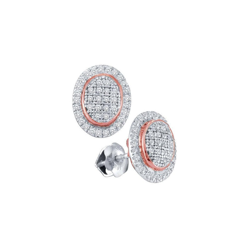 10kt White Gold Womens Round Diamond Oval Rose-tone Frame Cluster Earrings 1/4 Cttw