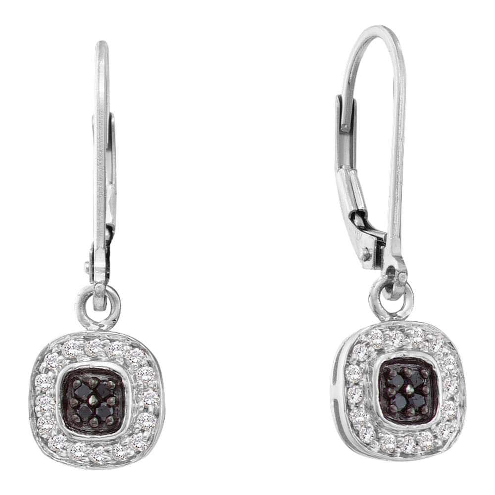 14kt White Gold Womens Round Black Color Enhanced Diamond Square Cluster Dangle Earrings 1/4 Cttw