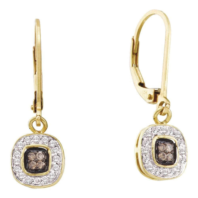 14kt Yellow Gold Womens Round Cognac-brown Color Enhanced Diamond Square Cluster Dangle Earrings 1/4 Cttw