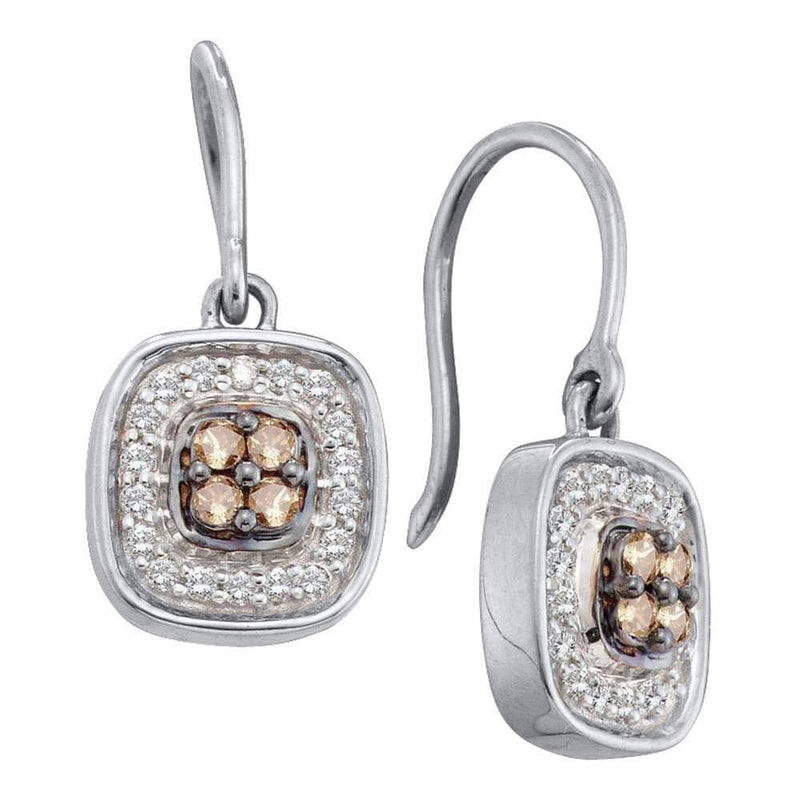 14kt White Gold Womens Round Cognac-brown Color Enhanced Diamond Square Cluster Dangle Earrings 1/3 Cttw