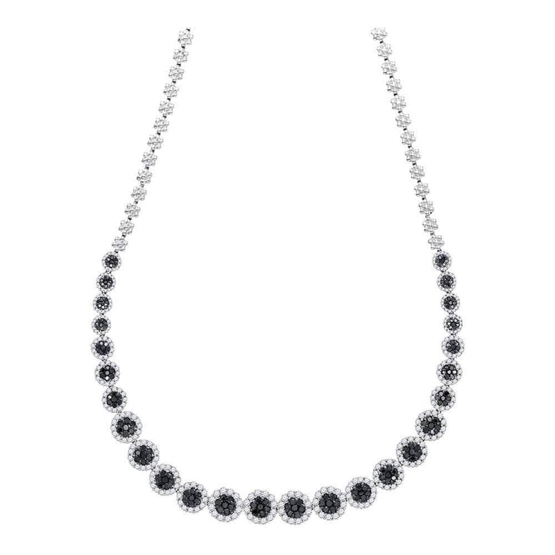 14K White Gold Womens Round Black Color Enhanced Diamond Cluster Necklace 10-1/5 Cttw