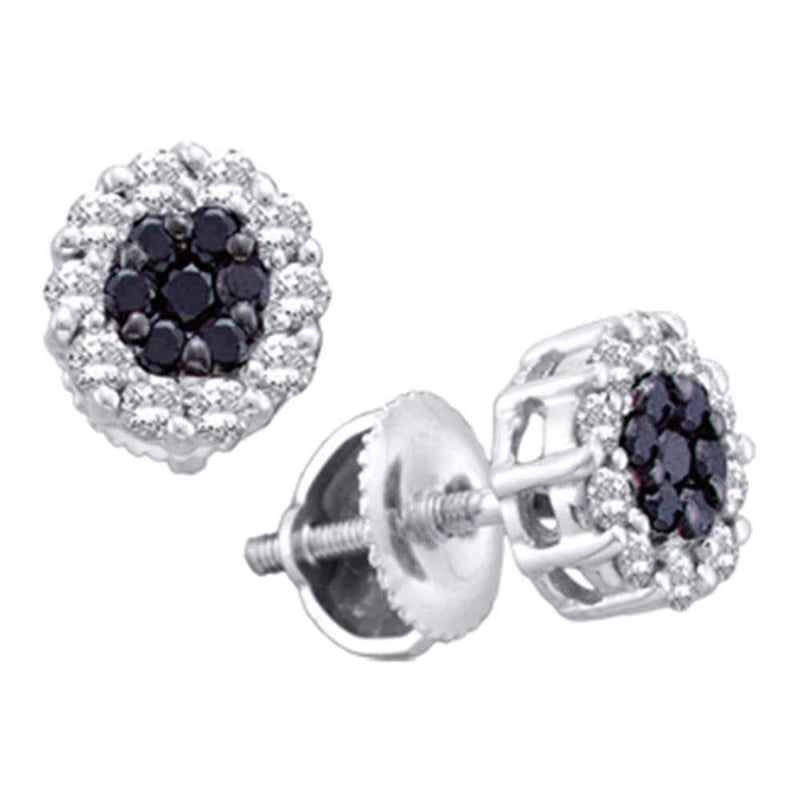 14kt White Gold Womens Round Black Color Enhanced Diamond Flower Cluster Earrings 1.00 Cttw