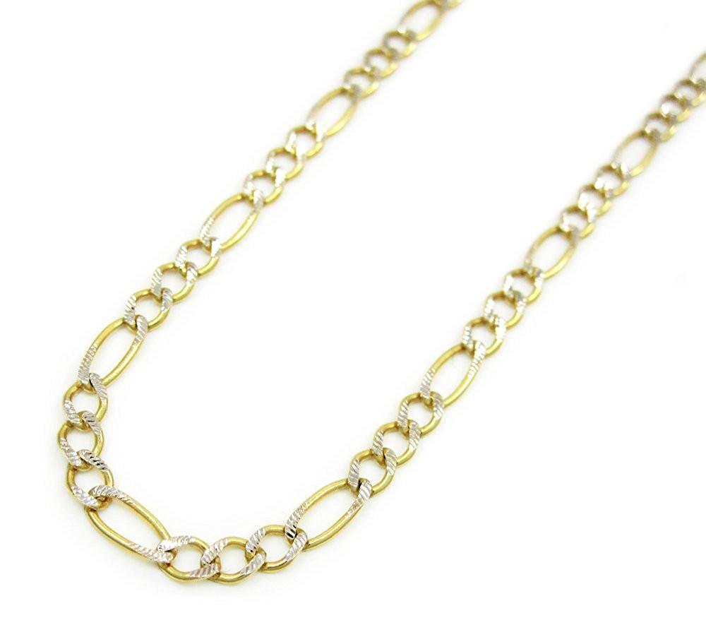 Yellow Gold pave Figaro Chain