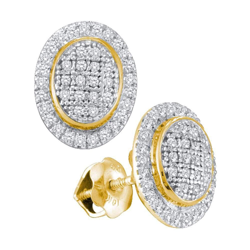 10kt Yellow Gold Womens Round Diamond Oval Frame Cluster Earrings 1/4 Cttw