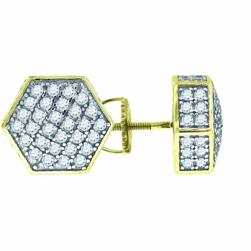 925 Sterling Silver Yellow-tone Cubic Zirconia CZ 3D Hexagon Stud Unisex Screw Back Earrings, Earrings, JJ-SLV, Jawa Jewelers