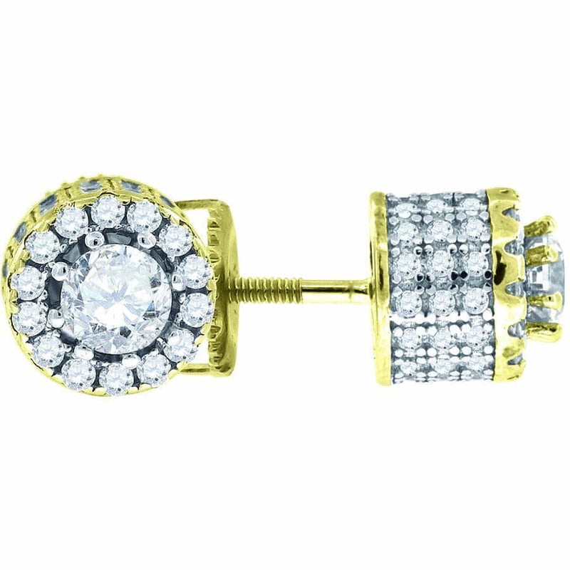 925 Sterling Silver Yellow-tone Cubic Zirconia CZ Stud Unisex Earrings, Earrings, JJ-SLV, Jawa Jewelers