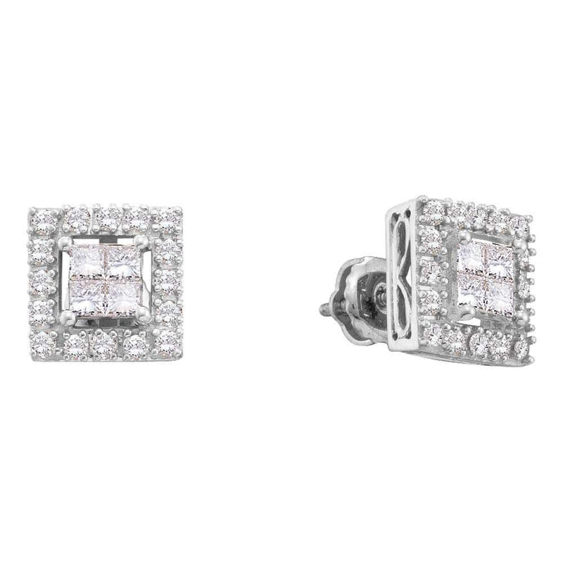 Princess Diamond  cluster Screwback Stud Earrings
