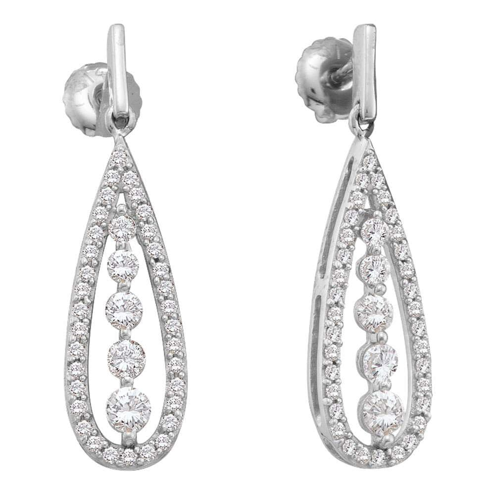 14kt White Gold Womens Round Diamond Teardrop Dangle Screwback Earrings 3/4 Cttw