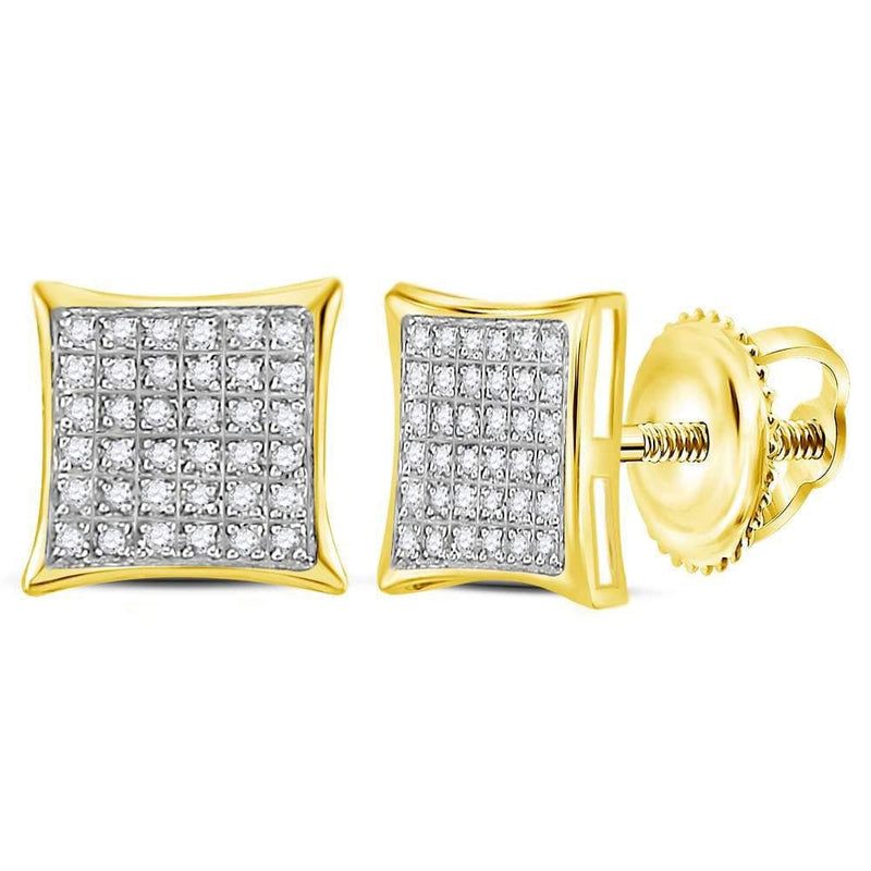 10kt Yellow Gold Womens Round Diamond Square Cluster Earrings 1/4 Cttw