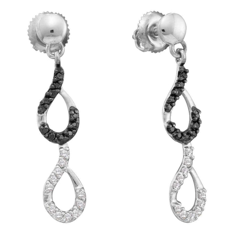 14kt White Gold Womens Round Black Color Enhanced Diamond Dangle Earrings 1/3 Cttw
