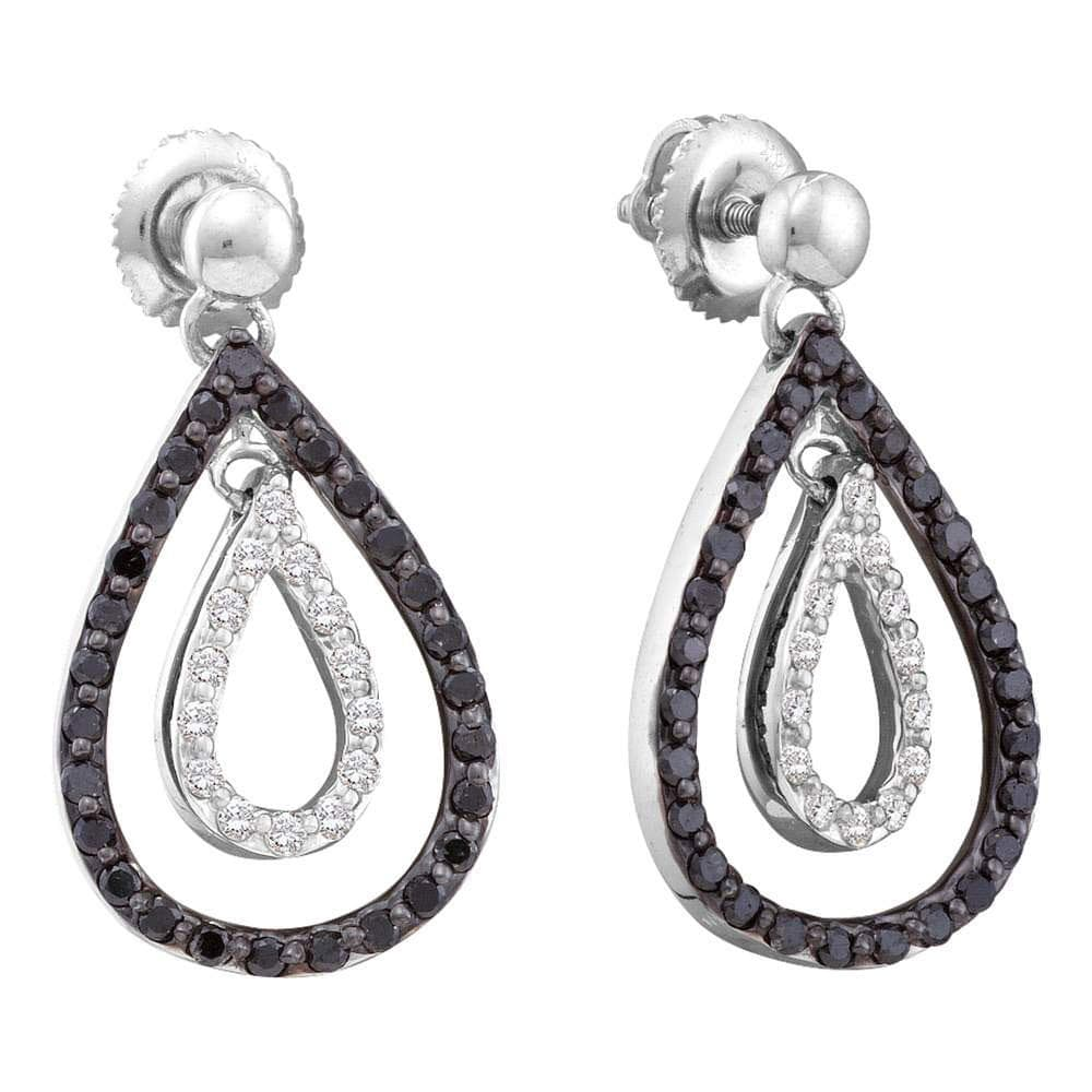 14kt White Gold Womens Round Black Color Enhanced Diamond Double Teardrop Dangle Earrings 7/8 Cttw