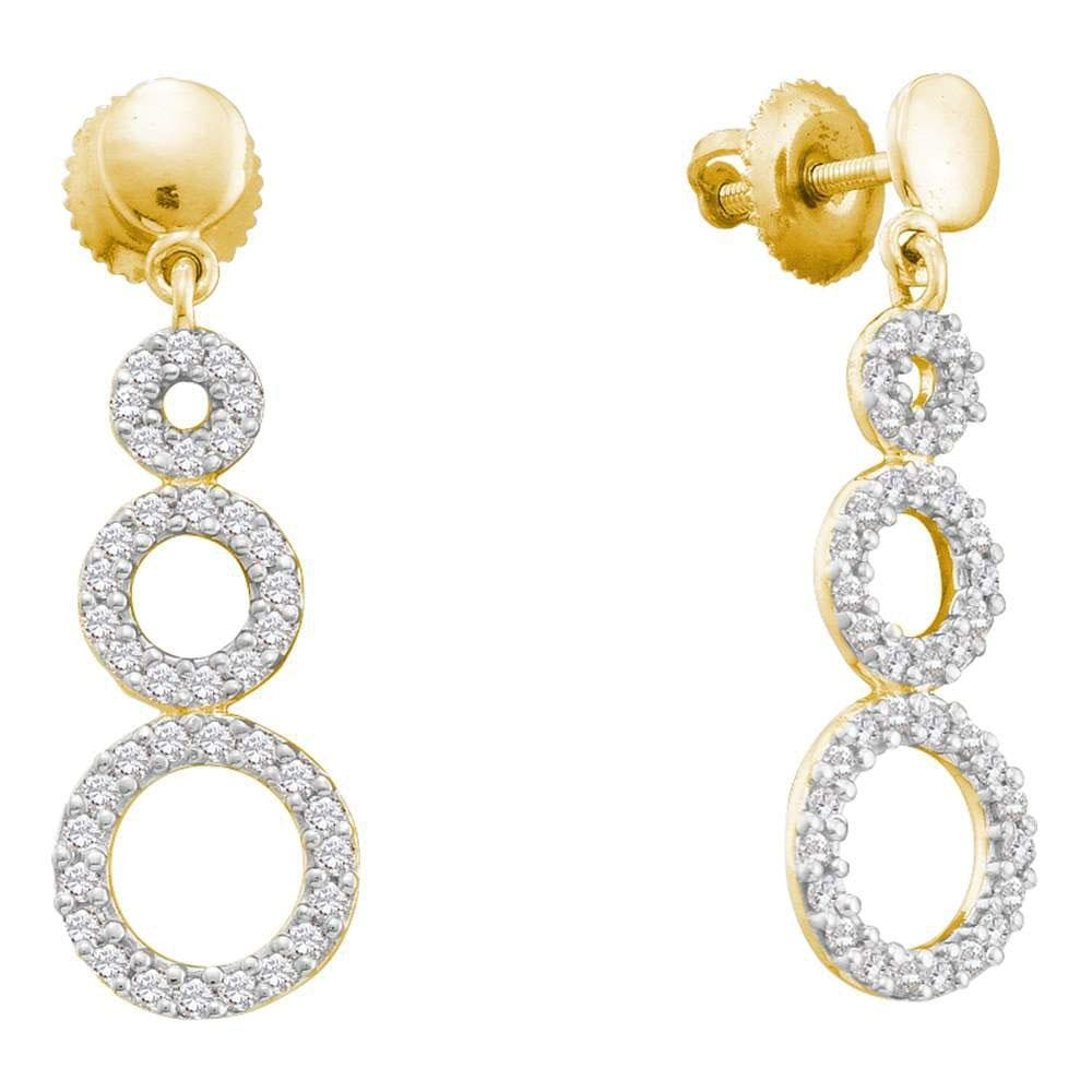 14kt Yellow Gold Womens Round Diamond Triple Circle Screwback Dangle Earrings 3/8 Cttw