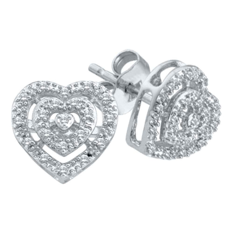 10kt White Gold Womens Round Diamond Heart Cluster Screwback Earrings 1/12 Cttw