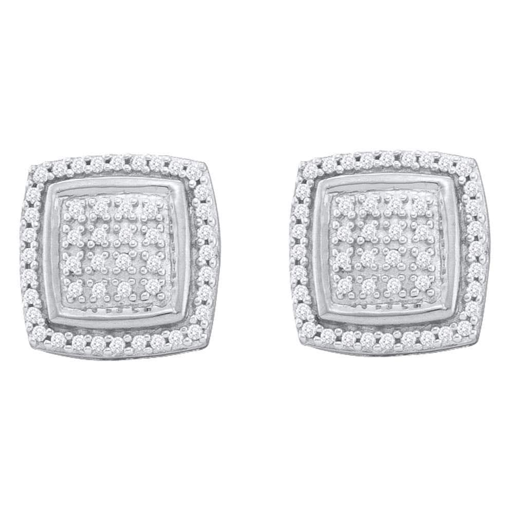 10kt White Gold Womens Round Diamond Square Frame Cluster Earrings 1/3 Cttw