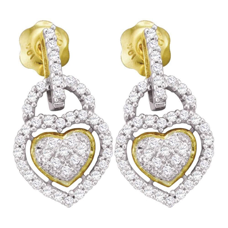 10kt Yellow Gold Womens Round Diamond Heart Frame Cluster Dangle Earrings 1/3 Cttw