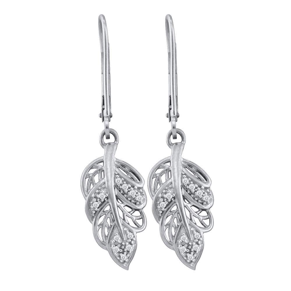 10kt White Gold Womens Round Diamond Dangle Leaf Leaves Wire Earrings 1/20 Cttw