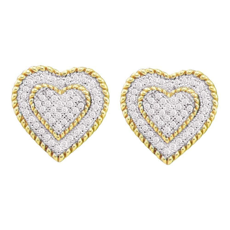 10kt Yellow Gold Womens Round Diamond Roped Heart Cluster Screwback Earrings 1/3 Cttw