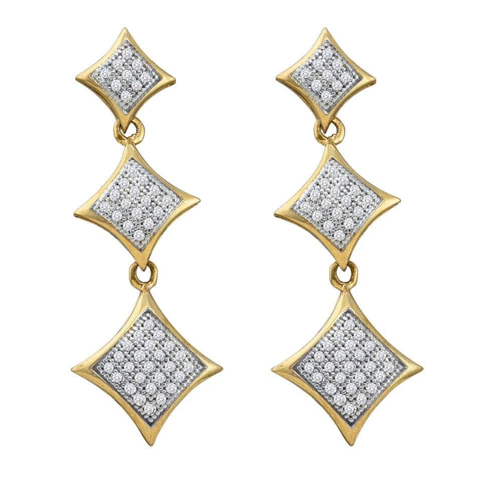 10kt Yellow Gold Womens Round Diamond Triple Square Kite Dangle Earrings 1/3 Cttw