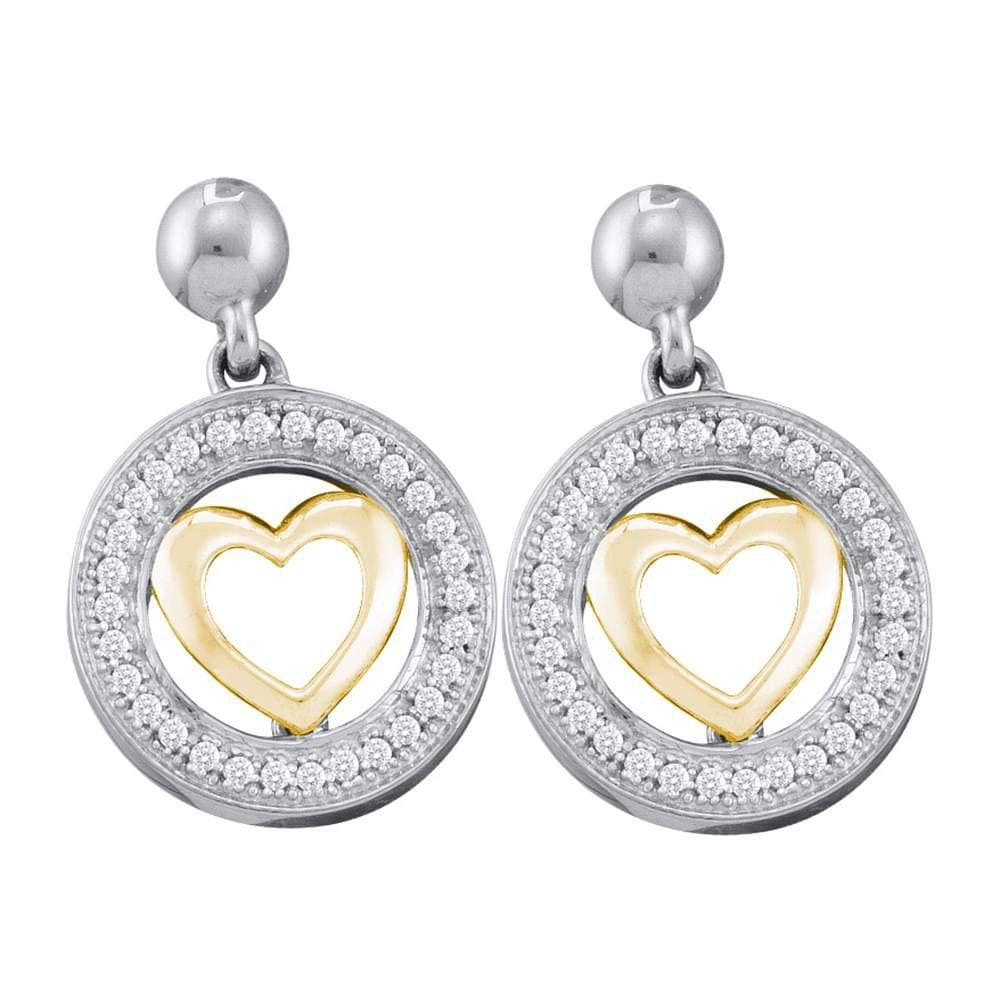 10kt Two-tone Gold Womens Round Diamond Circle Heart Dangle Earrings 1/5 Cttw