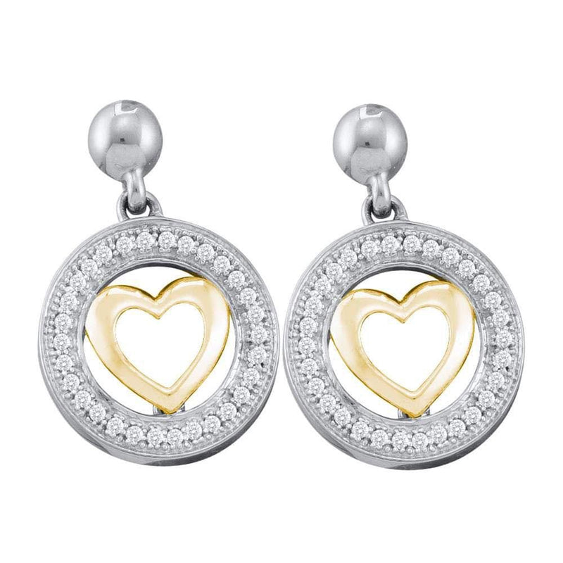 circle heart dangle diamonds earrings