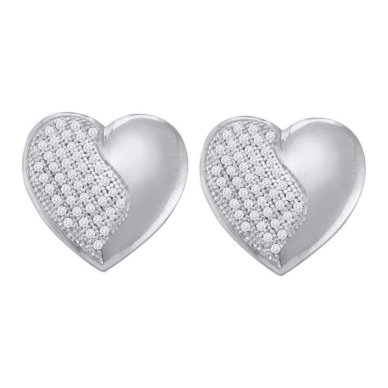 10kt White Gold Womens Round Diamond Heart Cluster Stud Earrings 1/4 Cttw