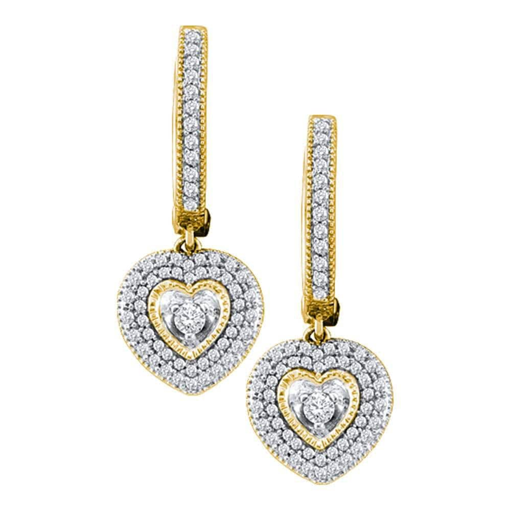 10kt Yellow Gold Womens Round Diamond Heart Dangle Earrings 3/4 Cttw