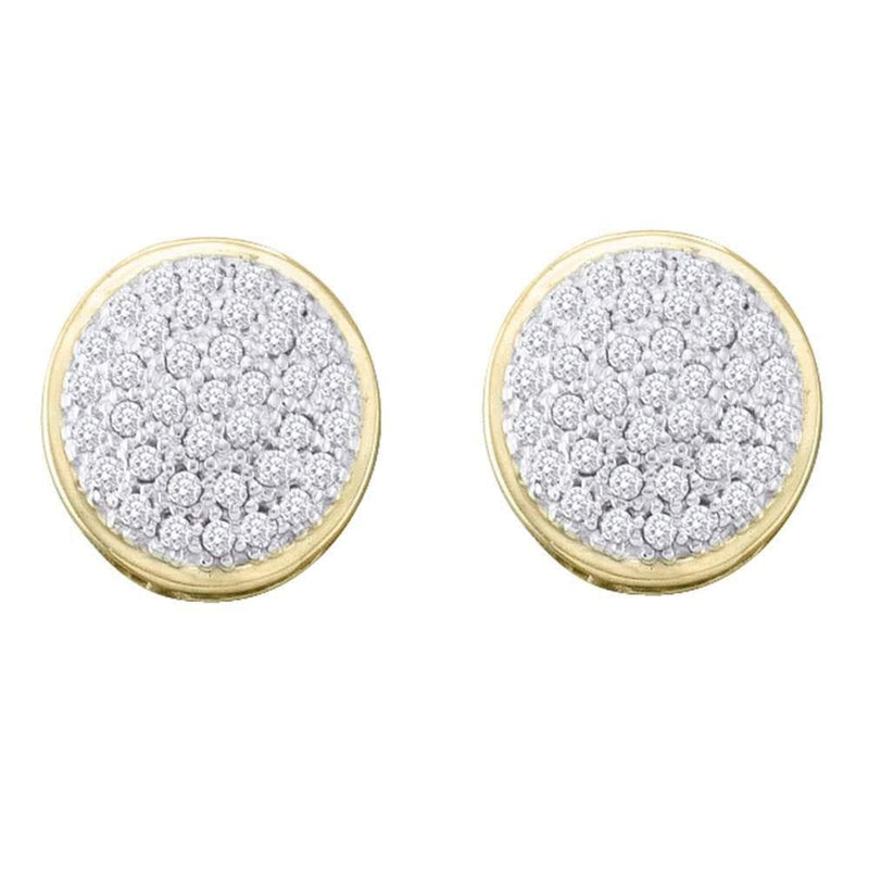 10kt Yellow Gold Womens Round Diamond Circle Cluster Stud Earrings 1/5 Cttw