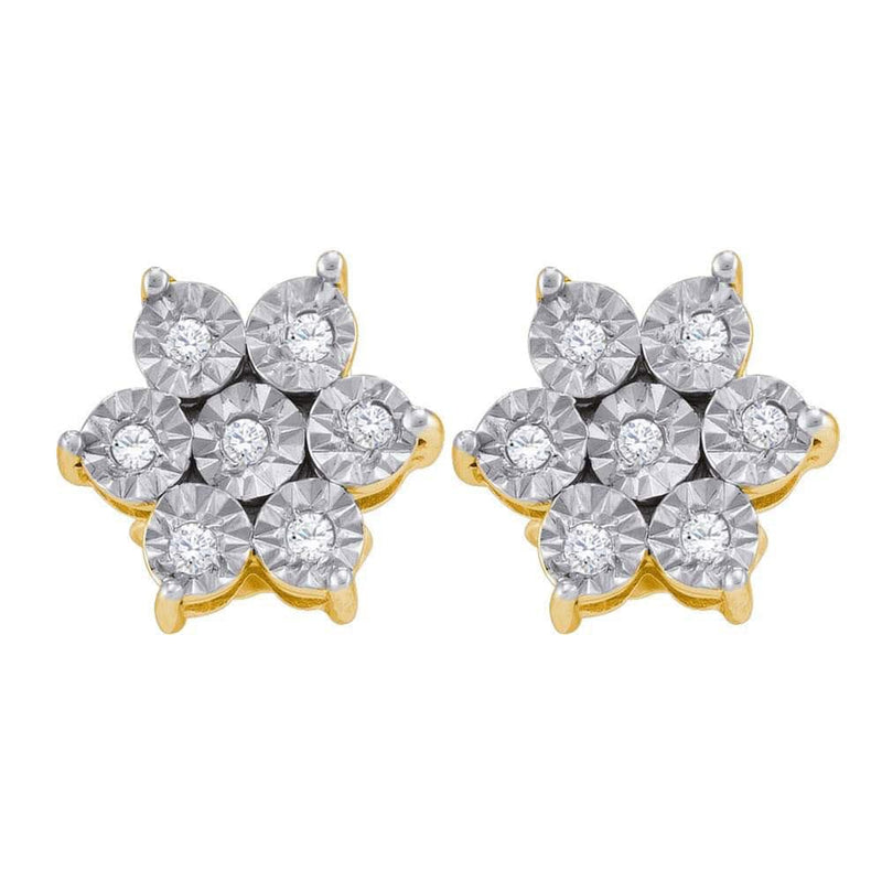 Yellow-tone Sterling Silver Womens Round Diamond Illusion Flower Cluster Earrings 1/8 Cttw