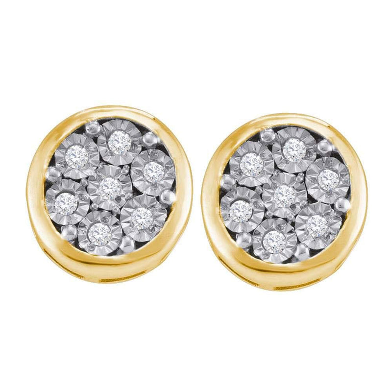 Yellow-tone Sterling Silver Womens Round Diamond Cluster Stud Earrings 1/10 Cttw