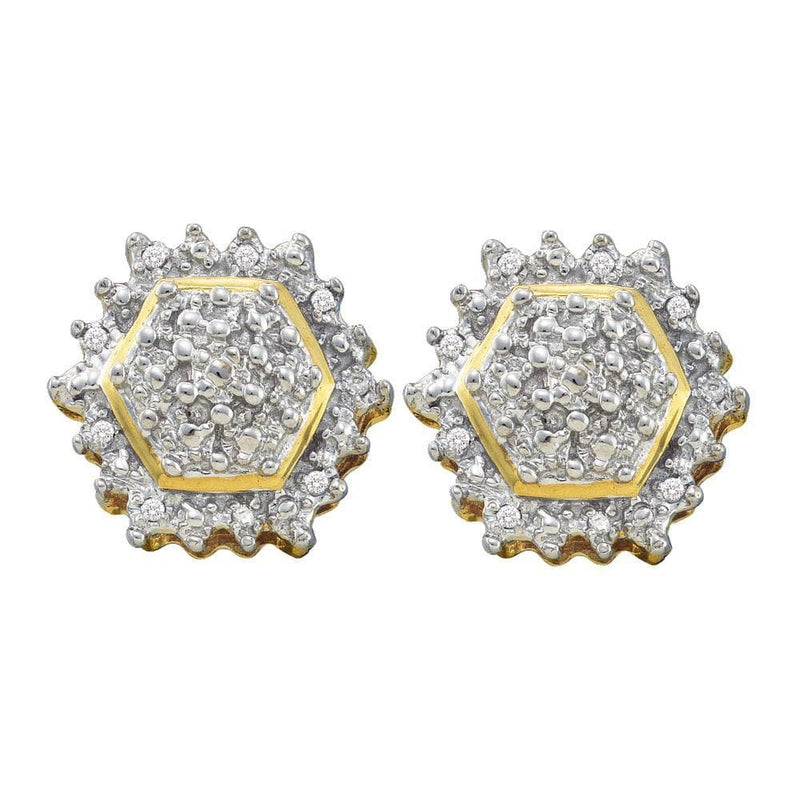 10kt Yellow Gold Womens Round Diamond Hexagon Geometric Cluster Earrings 1/10 Cttw