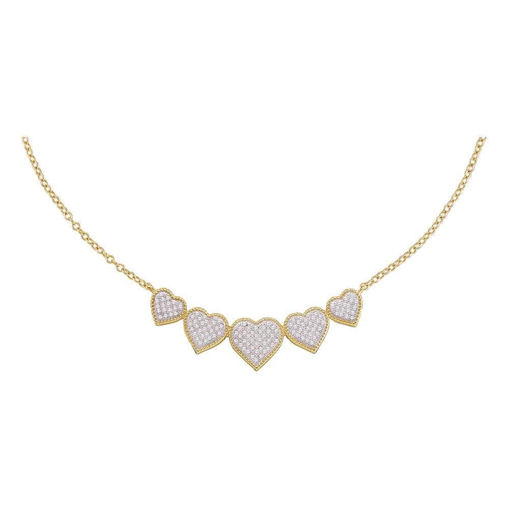 10K Yellow Gold Womens Round Diamond Five Heart Cluster Pendant Necklace 1/3 Cttw