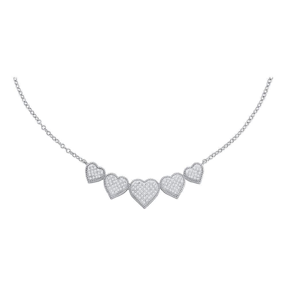 10K White Gold Womens Round Diamond Heart Pendant Necklace 1/3 Cttw