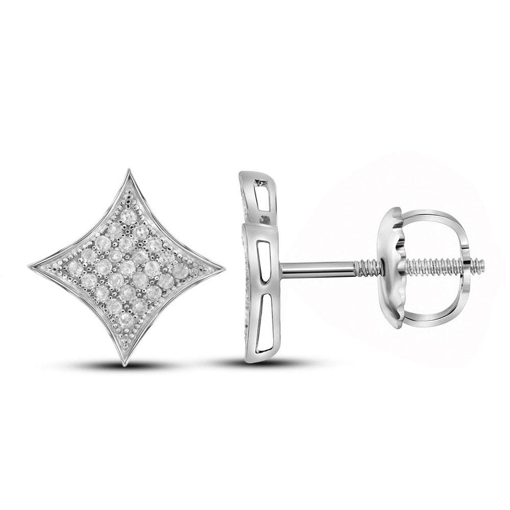 Sterling Silver Womens Round Diamond Square Kite Cluster Earrings 1/6 Cttw
