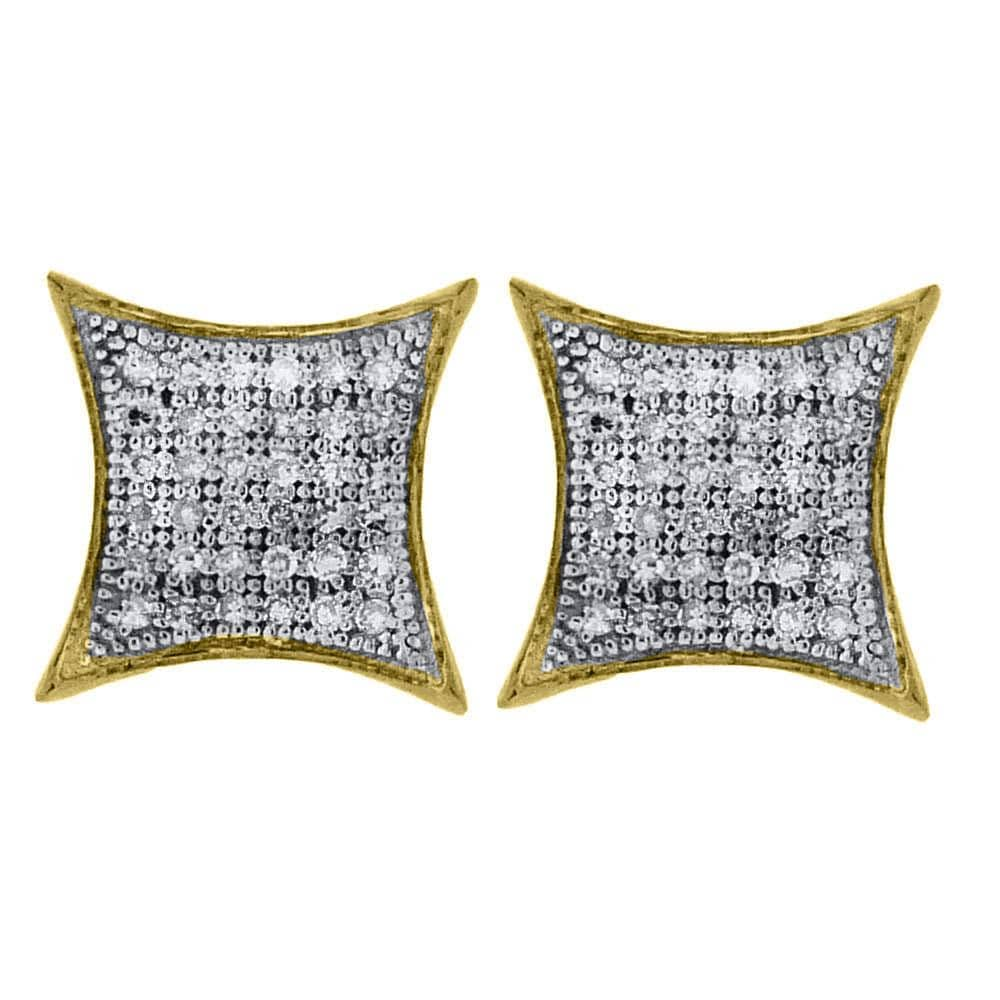 Yellow-tone Sterling Silver Womens Round Diamond Square Kite Cluster Earrings 1/4 Cttw