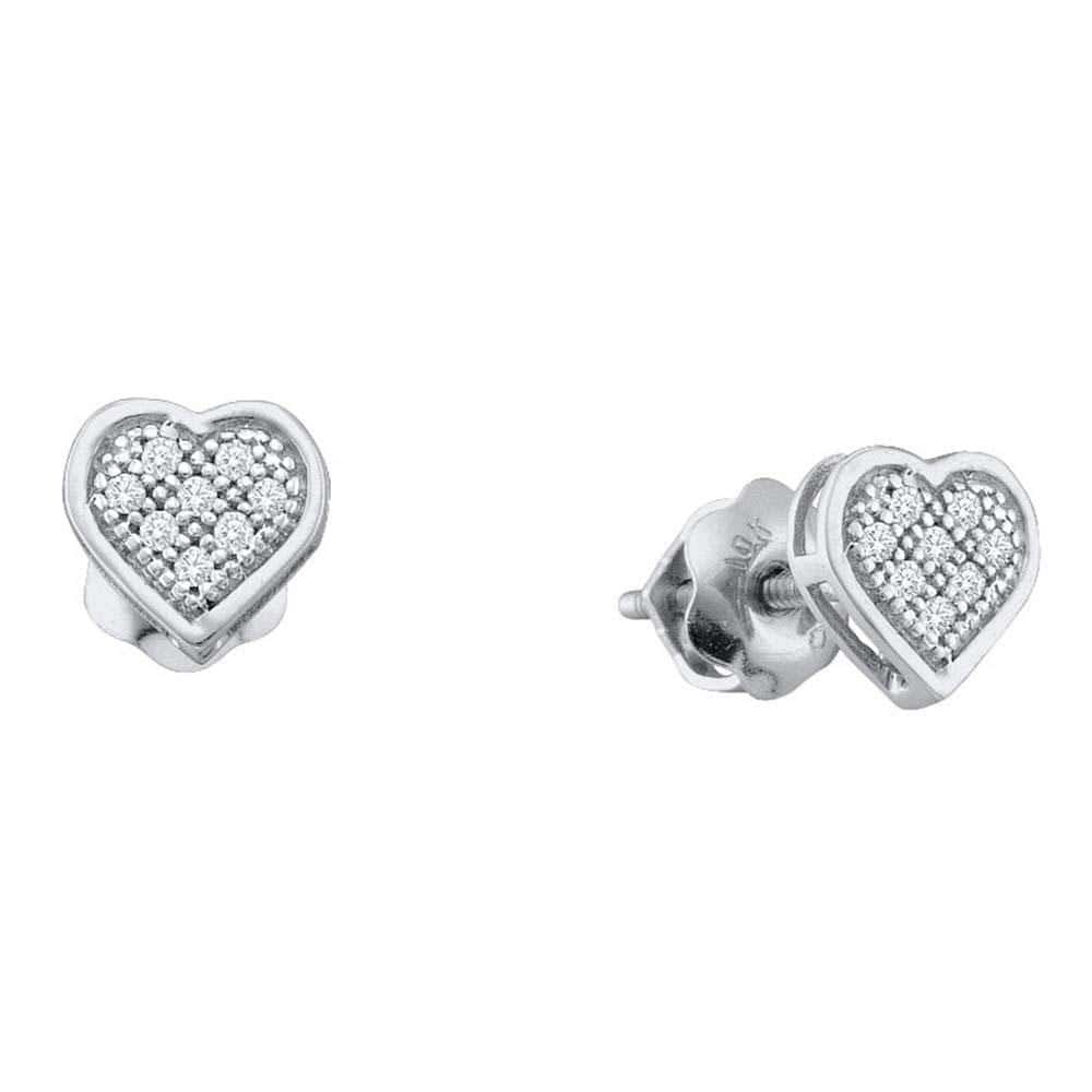 Sterling Silver Womens Round Diamond Heart Cluster Earrings 1/20 Cttw