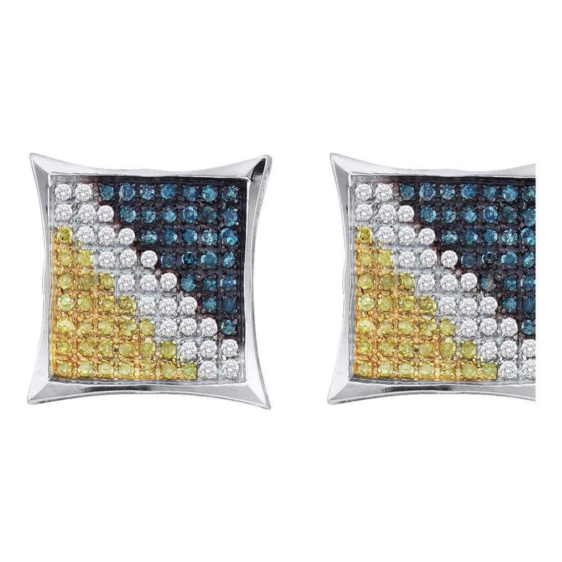 Sterling Silver Mens Yellow Blue Color Enhanced Diamond Square Cluster Earrings 1/6 Cttw