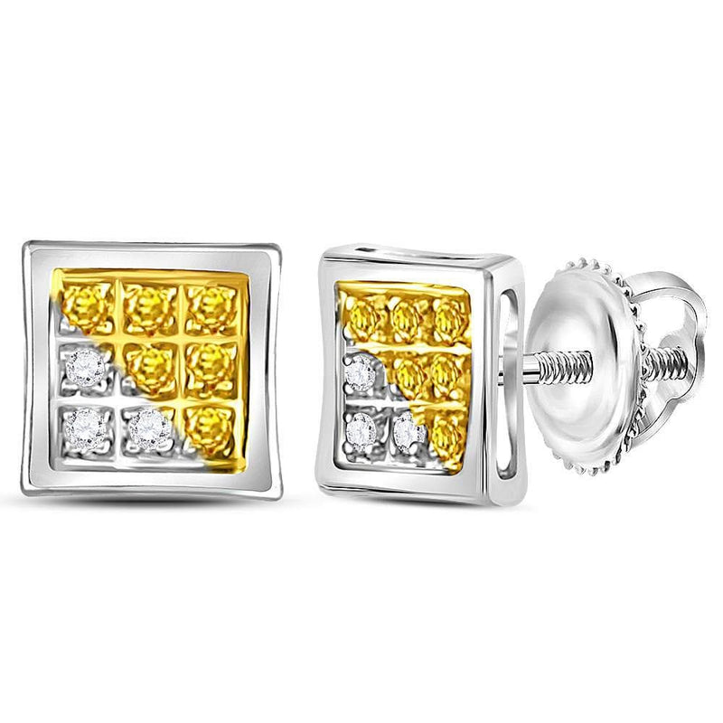 Sterling Silver Mens Round Yellow Color Enhanced Diamond Cluster Earrings 1/20 Cttw