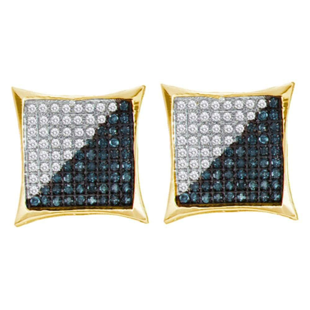 Yellow-tone Sterling Silver Mens Round Black Color Enhanced Diamond Square Kite Cluster Earrings 1/3 Cttw