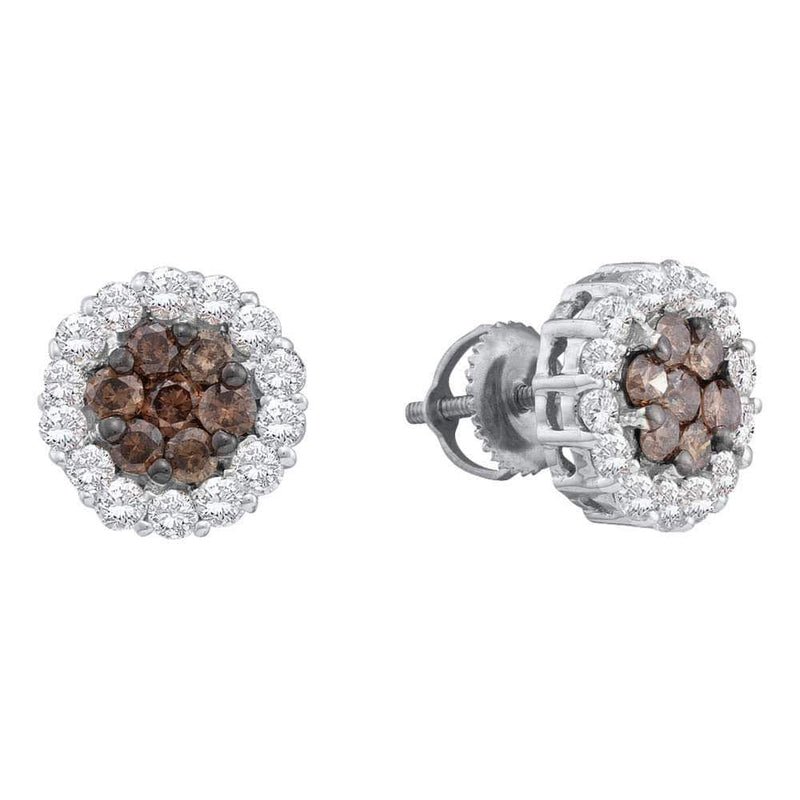 14kt White Gold Womens Round Cognac-brown Color Enhanced Diamond Flower Cluster Screwback Earrings 3/4 Cttw