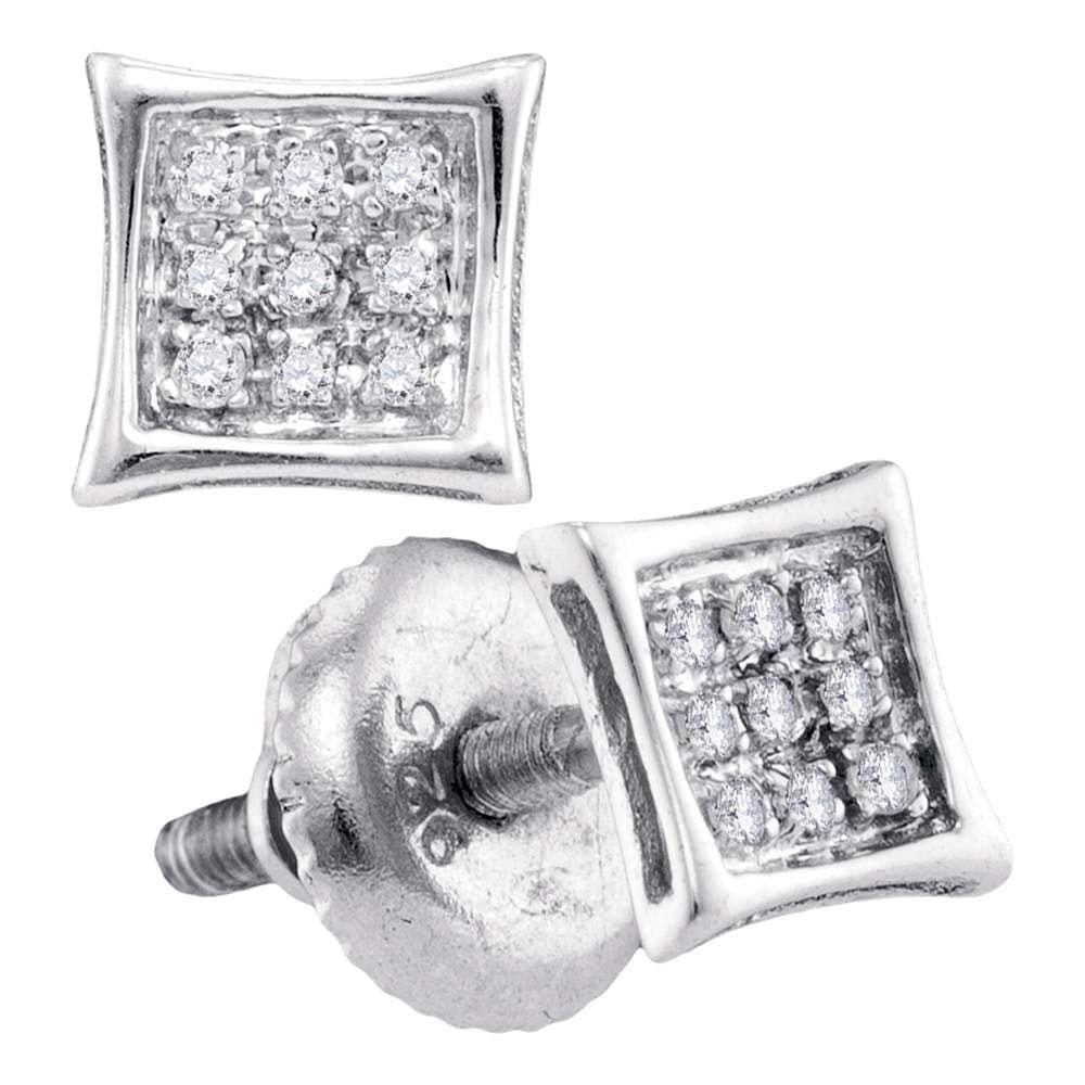 Sterling Silver Unisex Round Diamond Kite Cluster Stud Earrings 1/20 Cttw