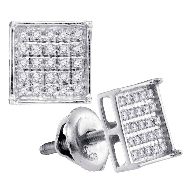 Sterling Silver Unisex Round Diamond Square Cluster Stud Earrings 1/6 Cttw