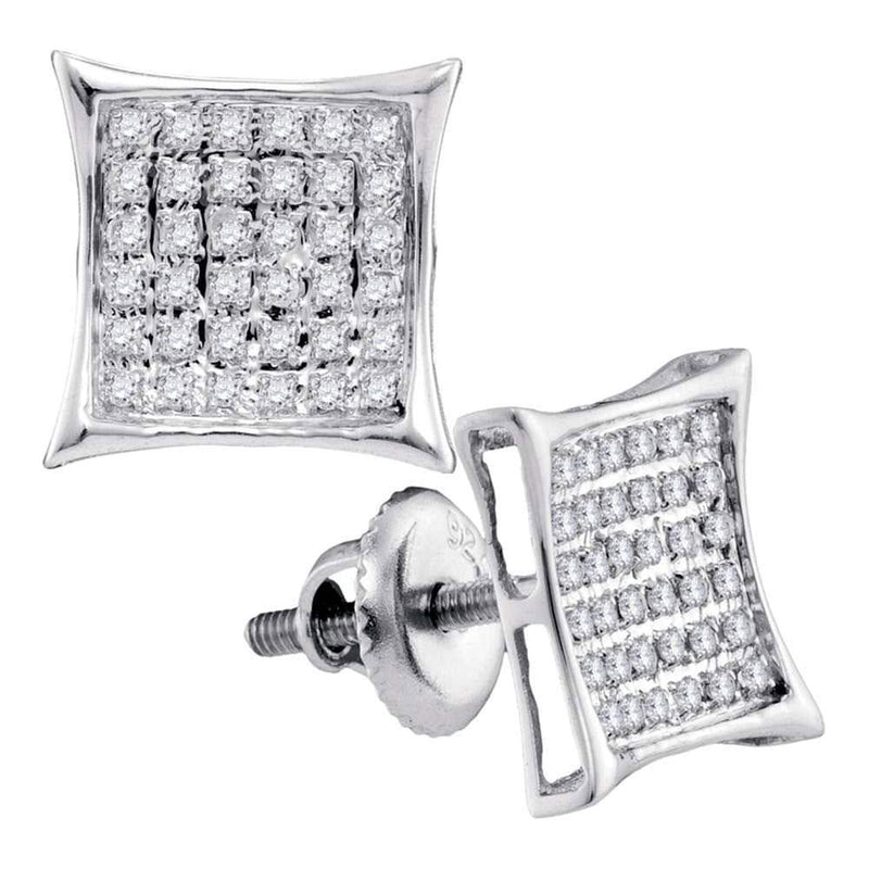 Sterling Silver Womens Round Diamond Square Kite Cluster Stud Earrings 1/4 Cttw