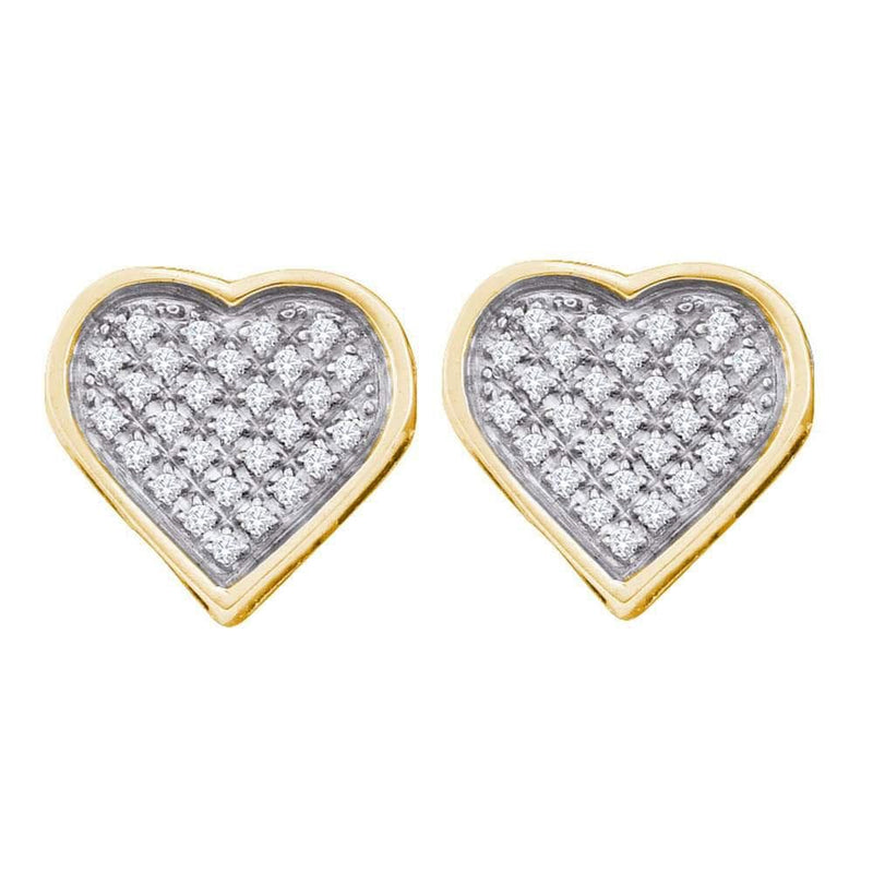 Yellow-tone Sterling Silver Womens Round Diamond Heart Cluster Stud Earrings 1/6 Cttw